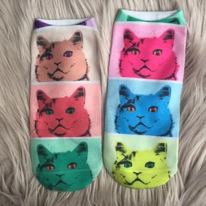 Accessories - Two pairs cat and hamster ankle socks NEW